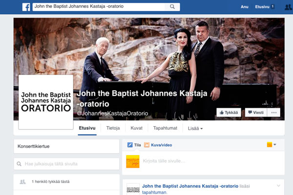 John the Baptist -oratorion Facebook-sivu
